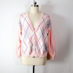 vintage 90s benetton pink argyle cardigan sweater